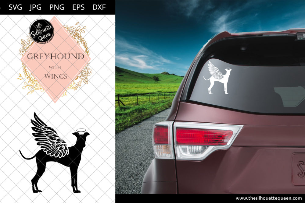 Greyhound #4 with Wings SVG