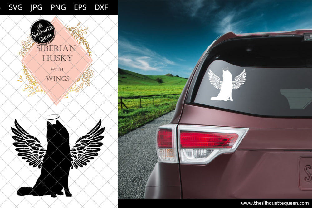Siberian Husky #6 with Wings SVG