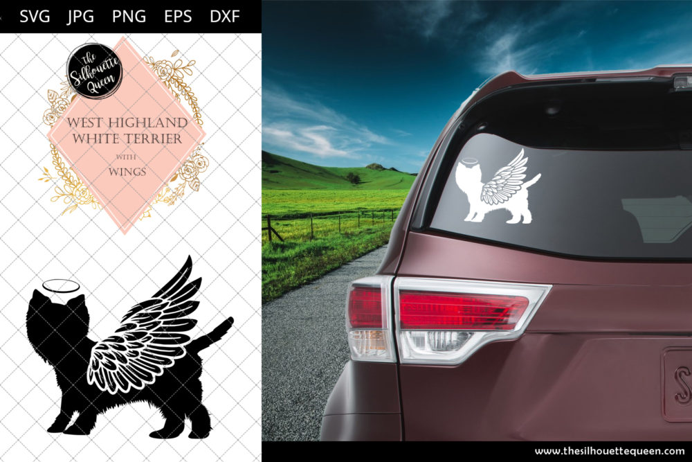 West Highland White Terrier #5 with Wings SVG