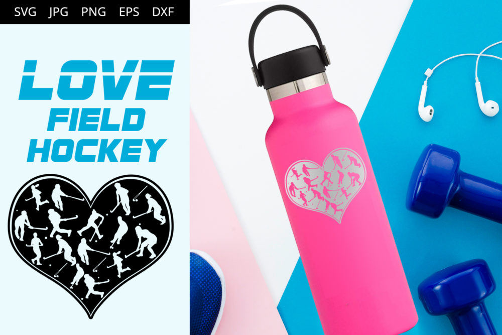 Field hockey Women Love SVG Cut File Design