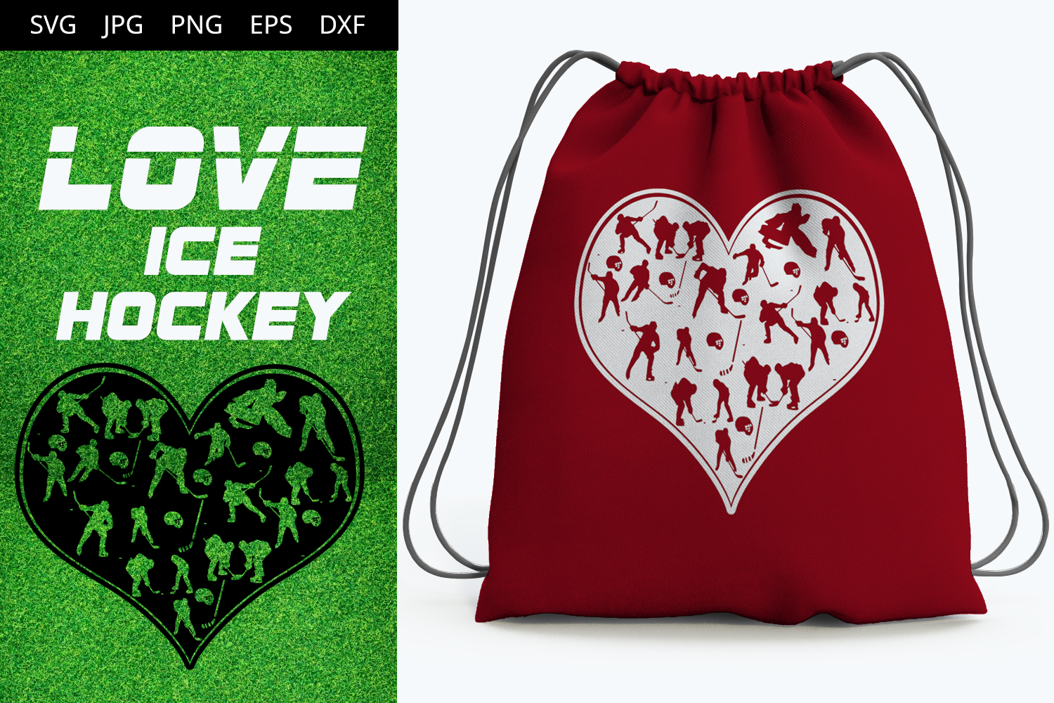 Ice Hockey Love Svg Cut File Design Silhouette Cricut Heart Player Diecut Machine Digital File Instant Download Dxf Png The Silhouette Queen