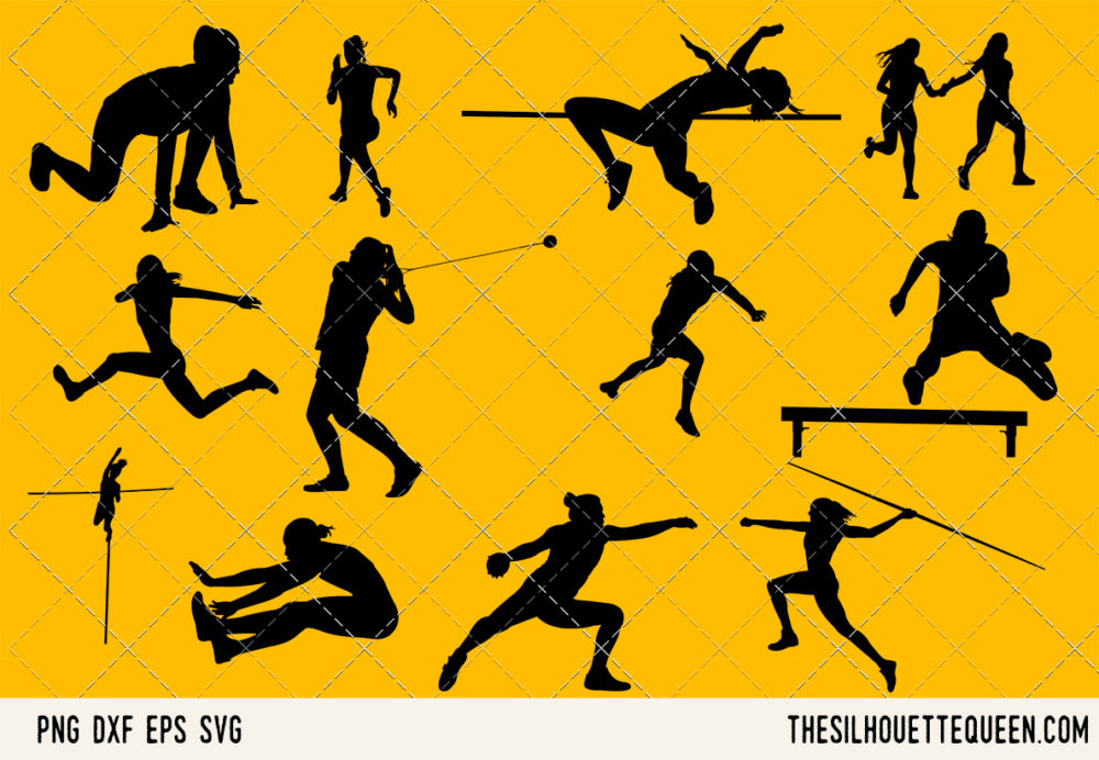 Track and Field Women SVG Bundle for Cutting