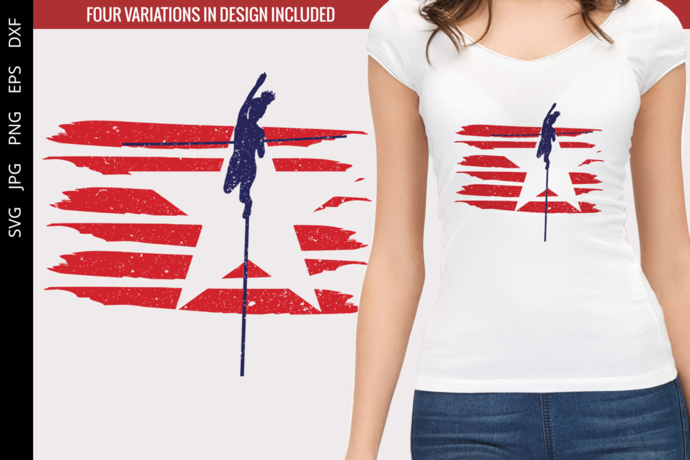 Pole Vault-Track and Field flag svg  American Flag