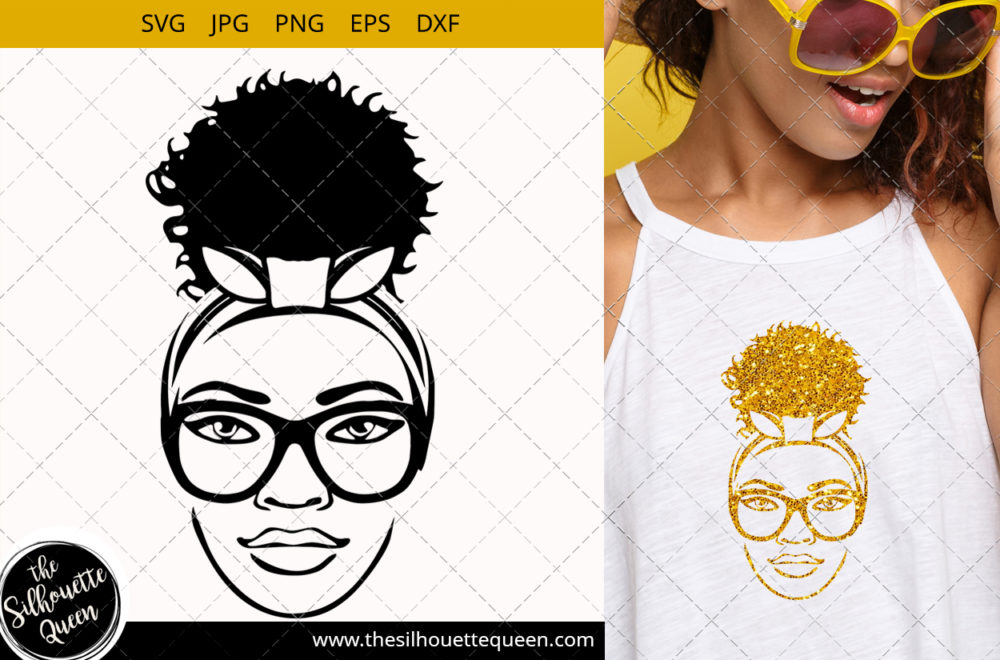Afro Woman svg with glasses and a Puff Svg