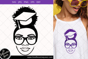 Educated Afro Woman svg with glasses and a Puff Svg