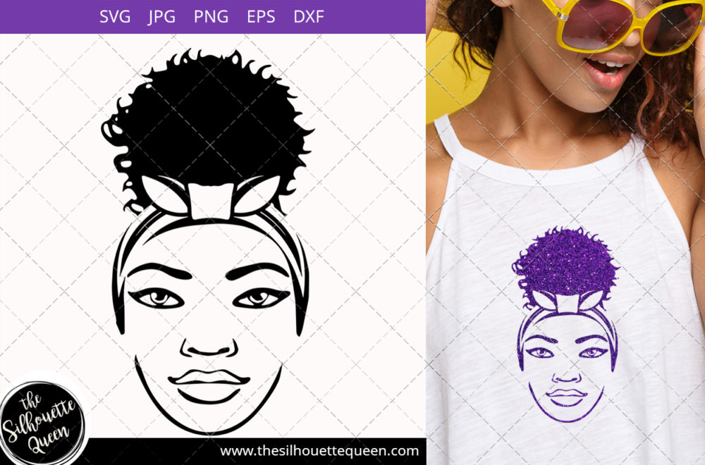 Afro Woman svg with a Puff Svg