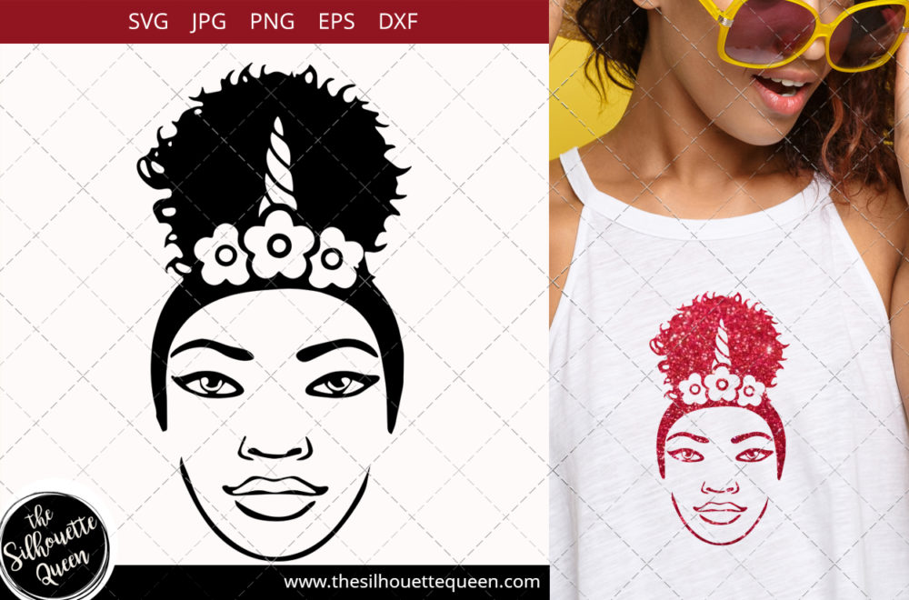 Afro Woman svg with Unicorn headband and a Puff