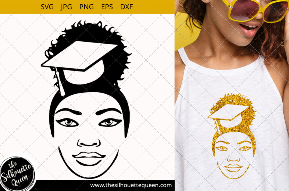 Educated Afro Woman svg with a Puff Svg
