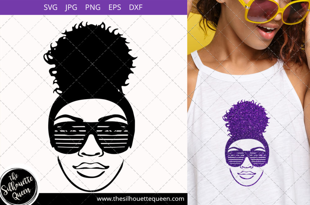 Afro Woman svg with Party glasses and a Puff