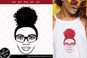 Afro Woman svg with glasses and a Puff