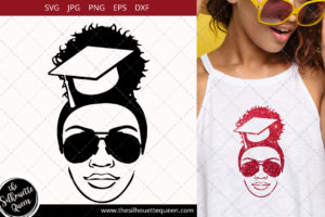 Educated Afro Woman svg with sunglasses and a Puff Svg
