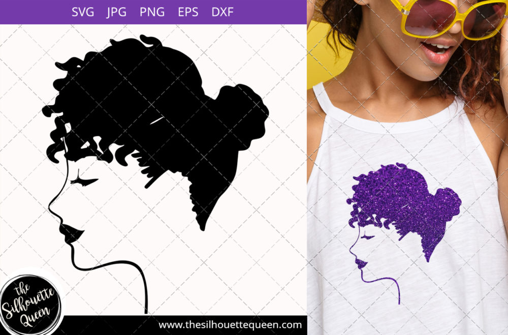 Afro Woman svg with Natural Curly hair Updo with fringes
