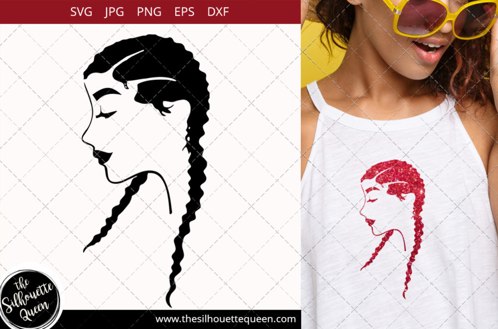 Afro Woman svg with Cornrows and Long Braids