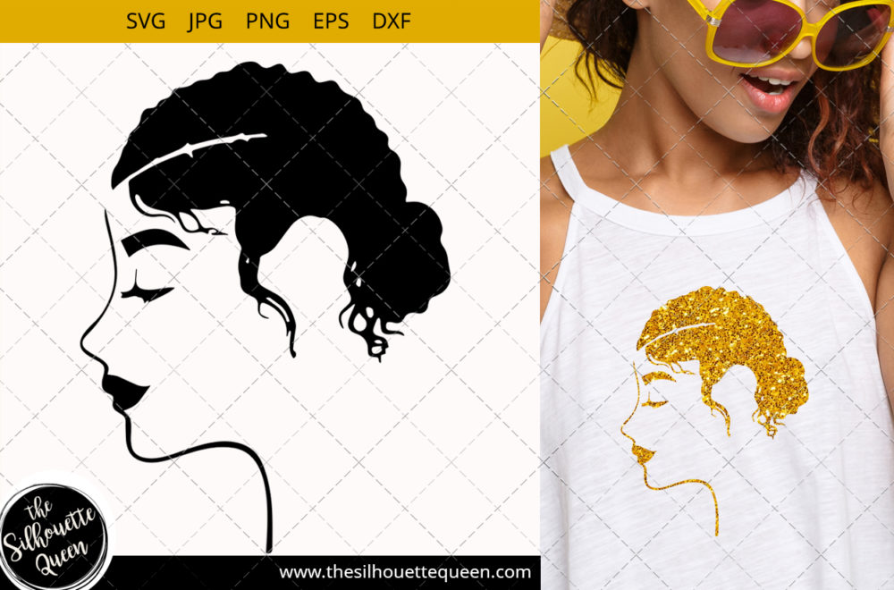Afro Woman svg with Side Swept Curly Hair in a Bun