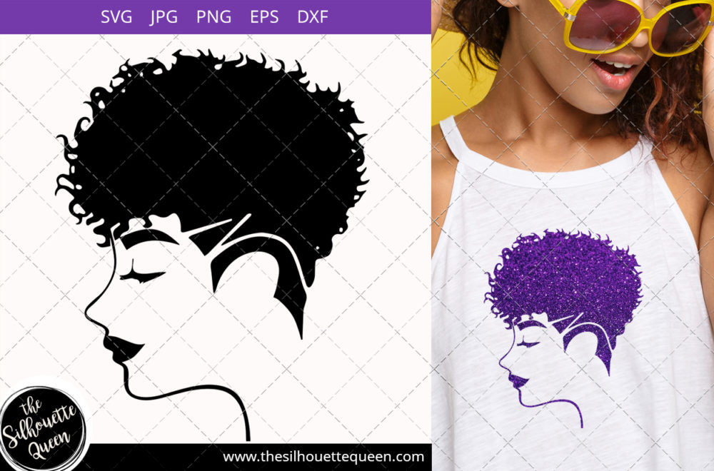Afro Woman svg with Curly Pixie Undercut Shaved Mohawk