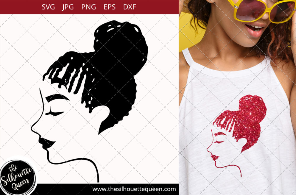 Afro Woman svg with Cornrows and a Bun Updo