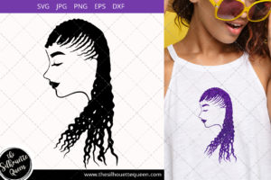 Afro Woman svg with Cornrow Dreads