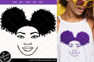 Afro Woman svg with sunglasses and side Puffs Svg