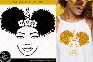 Afro Woman svg with crown and side Puffs Svg