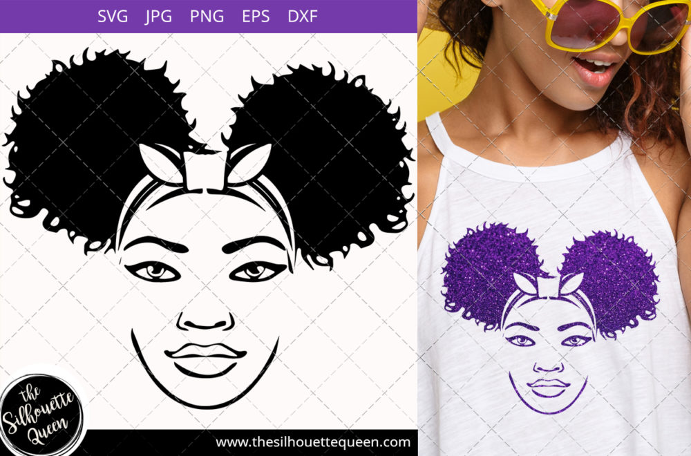 Afro Woman svg with unicorn headband and side Puffs Svg