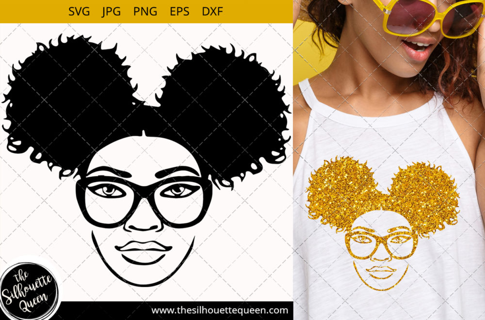 Educated Afro Woman svg with side puffs Svg