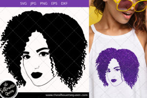 Afro Woman svg with Parted curly kinky Bob Short