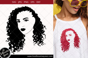 Afro Woman svg with Cornrow with Curly Weave