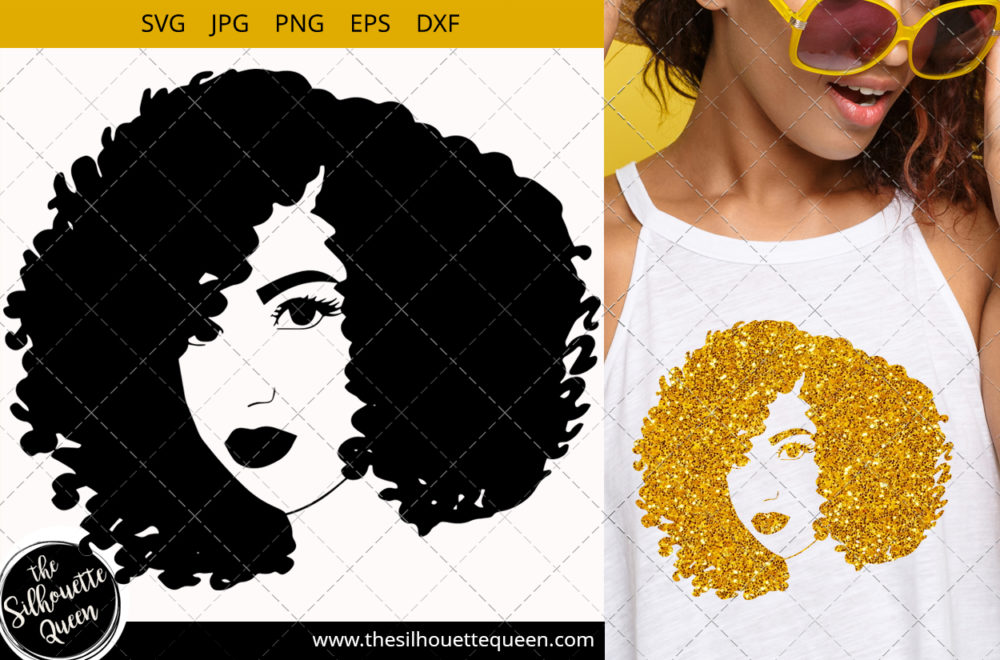 Afro Woman svg with Short Curly Kinky Weave
