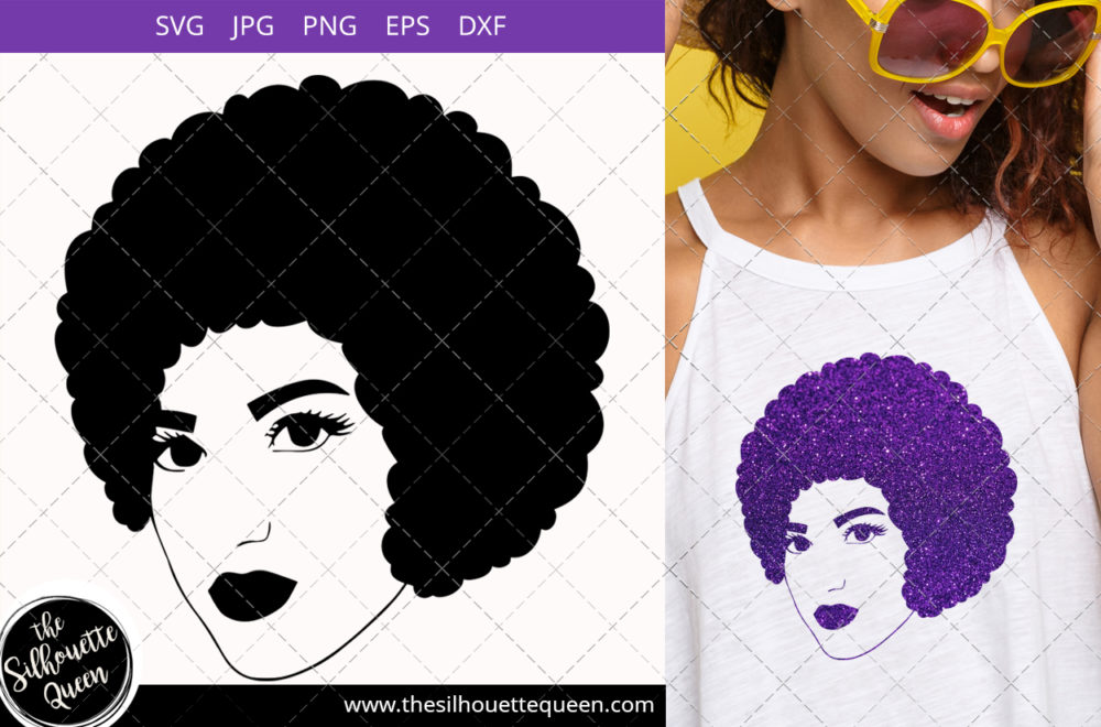 Afro Woman svg with Short Defined Curls