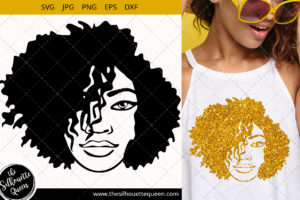 Afro Woman svg with side swept short natural curly hair