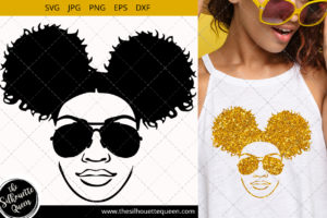 Afro Woman svg with glasses and side puffs Svg