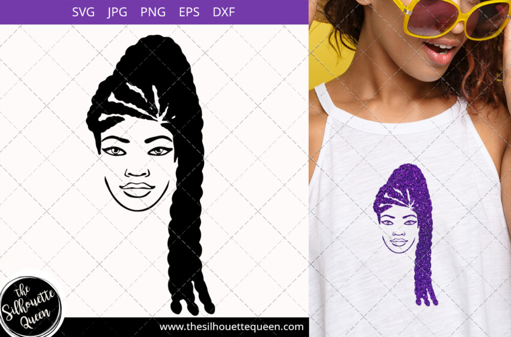 Afro Woman svg with Side-Swept Dreadlock