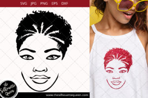Afro Woman svg with High Braided Pony