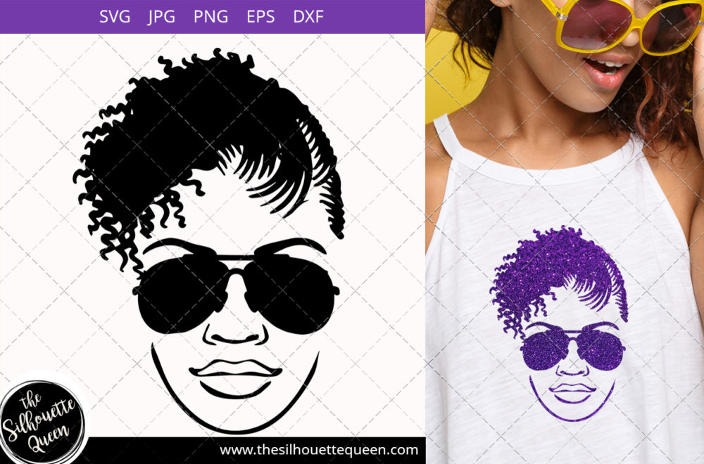 Afro Woman svg with  Side-swept Curly Pixie