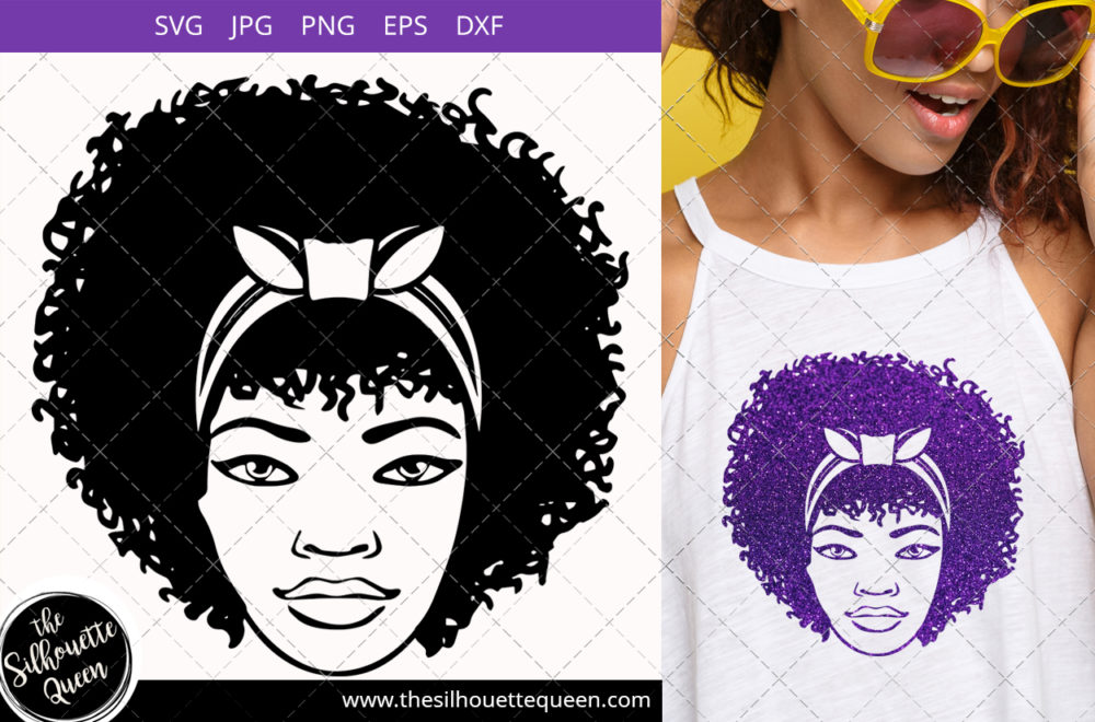 Afro Woman svg with Curly Bob natural hair and crown