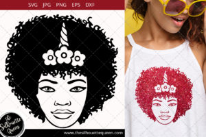Afro Woman svg with Curly Bob natural hair and head bandana