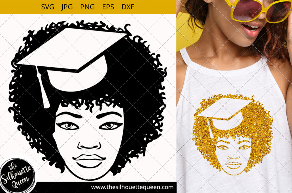 Afro Woman svg with Curly Bob natural hair and unicorn headband
