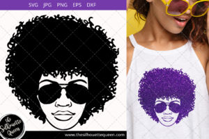 Educated Afro Woman svg with Curly Bob natural hair and Graduation Hat