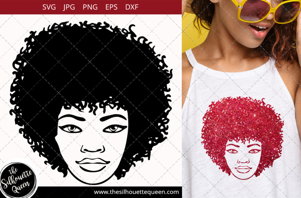Afro Woman svg with Curly Bob natural and glasses