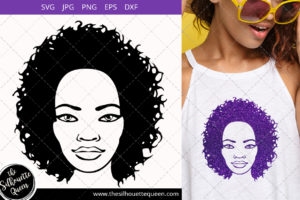 Afro Woman svg with Curly Bob natural hair and glasses