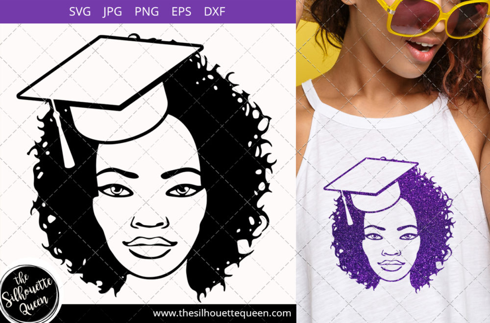 Afro Woman svg with Curly Bob natural hair and bandana