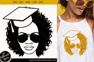 Educated Afro Woman svg with Curly Bob natural hair and Graduation Hat and glasses