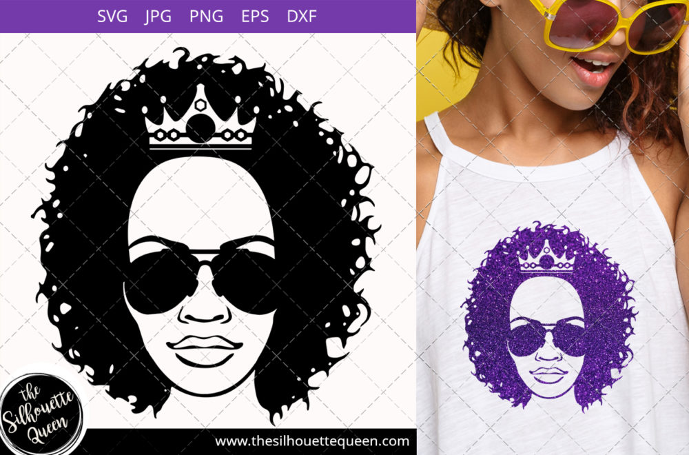 Educated Afro Woman svg with Curly Bob natural hair and Graduation Hat and sunglasses