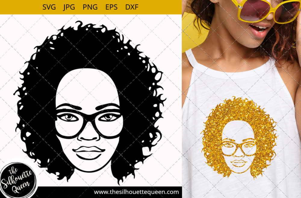 Afro Woman svg with Curly Bob natural hair