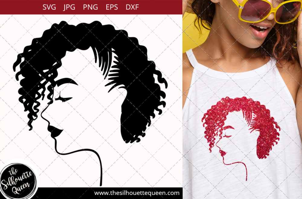 Afro Woman svg with Side-swept Curly Pixie with Cornrows