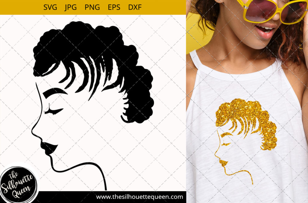 Afro Woman svg with Short Cornrows and Dreadlocks