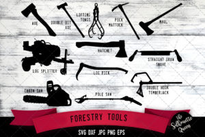Forestry Tools Silhouette Vector