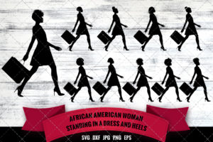 African American Woman Shopping - Side View SVG - Black Woman