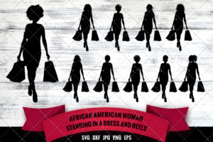 African American Woman Shopping - Front View SVG - Black Woman