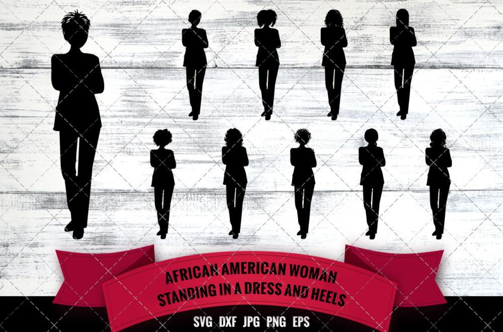 African American Woman Busines Woman Standing SVG - Black Woman